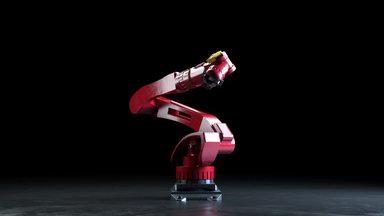 暗闇で動く産業用ロボット