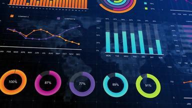 世界地図の上に浮かび上がる様々なチャート