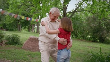 grandpa rejoices in reuniting with a girl