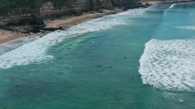 サーファーと波と海岸
